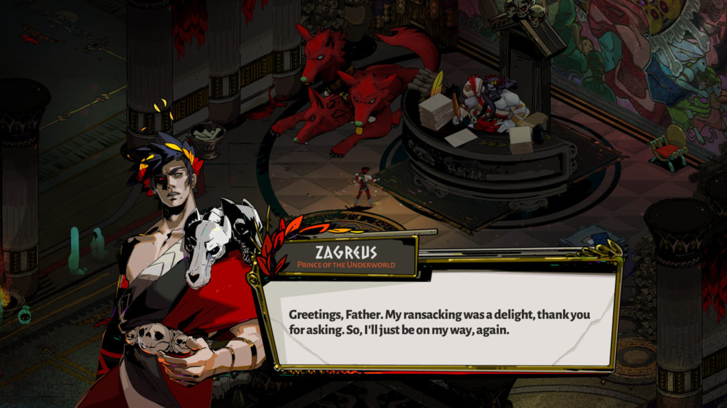 A screenshot from the game Hades where the main character is talking to his father.